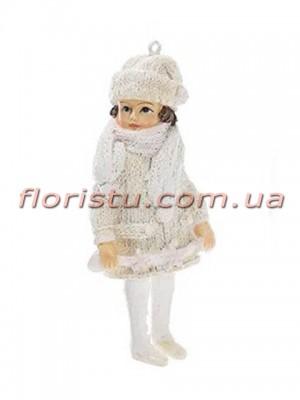 Новогодняя подвесная фигурка Девочка в белом 11 см №1