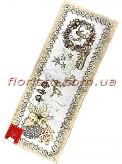 Новогодняя гобеленовая скатерть-раннер EMILY HOME 45*140 см №02