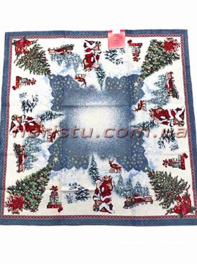 Новогодняя гобеленовая скатерть EMILY HOME 140*140 см №03