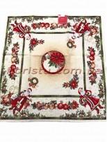 Новогодняя гобеленовая скатерть EMILY HOME 140*260 см №04
