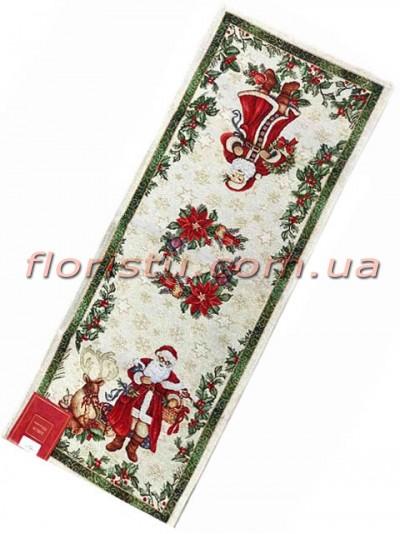 Новогодняя гобеленовая скатерть-раннер EMILY HOME 35*100 см №04