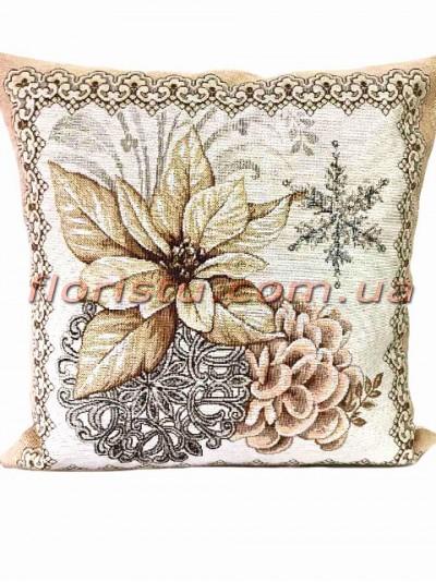 Новогодняя гобеленовая подушка двусторонняя EMILY HOME 45*45 см №02