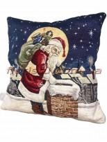 Новогодняя велюрово-гобеленовая подушка EMILY HOME 45*45 см №08