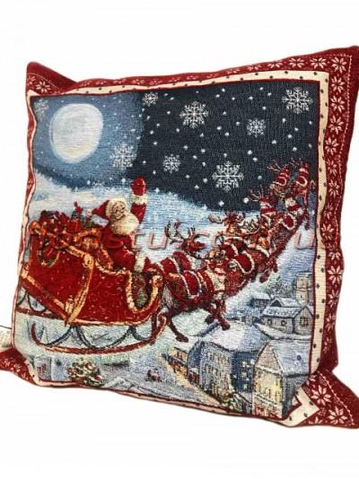 Новогодняя велюрово-гобеленовая подушка EMILY HOME 45*45 см №06