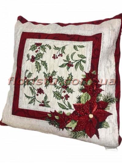 Новогодняя велюрово-гобеленовая подушка EMILY HOME 45*45 см №05