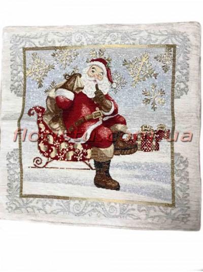 Новогодняя велюрово-гобеленовая наволочка EMILY HOME 45*45 см №09
