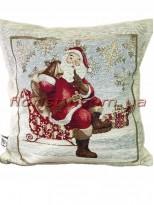 Новогодняя велюрово-гобеленовая подушка EMILY HOME 45*45 см №09
