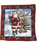 Новогодняя велюрово-гобеленовая наволочка EMILY HOME 45*45 см №07