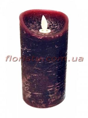 LED-свеча бордового цвета с имитацией пламени 15*7,5 см