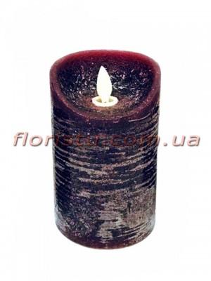 LED-свеча бордового цвета с имитацией пламени 12*7,5 см