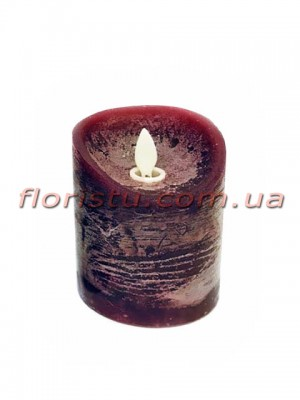 LED-свеча бордового цвета с имитацией пламени 10*7,5 см