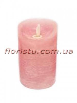 LED-свеча розового цвета с имитацией пламени 12*7,5 см
