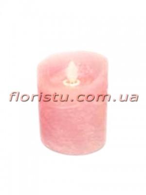 LED-свеча розового цвета с имитацией пламени 10*7,5 см