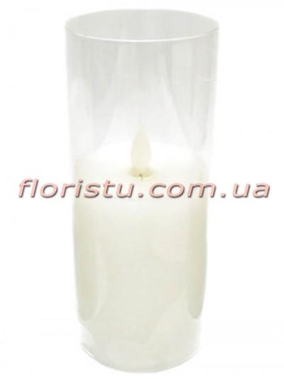 LED-свеча белого цвета с имитацией пламени в стекле 19*7,5 см