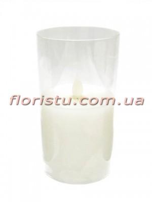 LED-свеча белого цвета с имитацией пламени в стекле 14*7,5 см