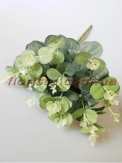 Эвкалипт искусственный нежно-зеленый пышный куст 50 см 20 веток