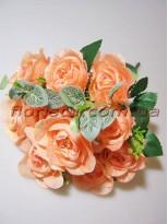Букет роз персиковый 10 гол. 5 см