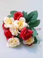 Розы Винтаж персик+красный гол. 4 см