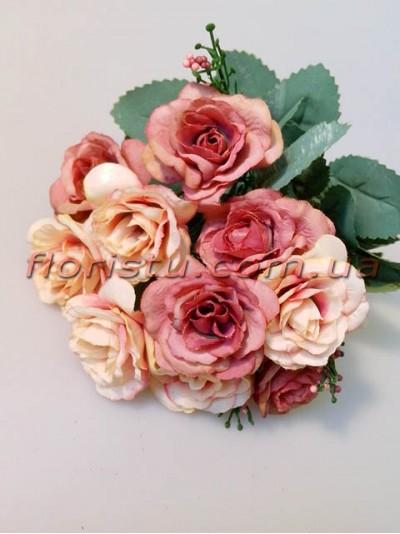 Розы Винтаж пепельно-розовые гол. 4 см