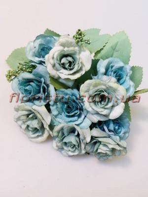 Розы Винтаж пепельно-голубые гол. 4 см
