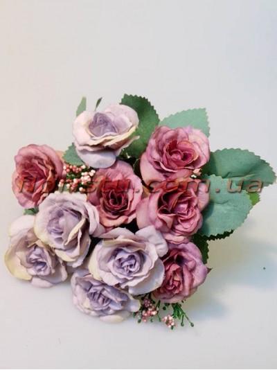 Розы Винтаж пепельно-сиреневые гол. 4 см