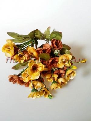 Сакура Винтаж с ягодами желто-коричневая гол. 3 см