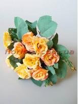 Розы Винтаж оранжево-желтые гол. 4 см