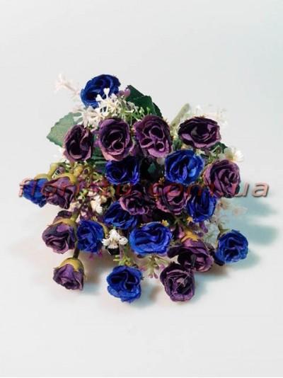 Букет кустовых розочек мини синих и фиолетовых с добавками гол. 1,5 см