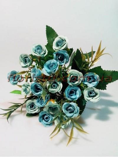Розочки мелкие кустовые пепельно-голубые Винтаж гол. 1,5 см