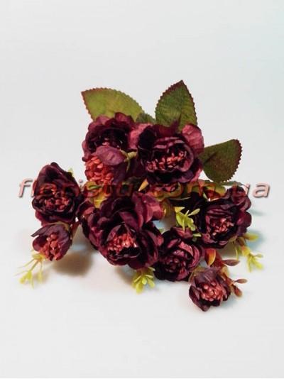 Розочки садовые искусственые Винтаж бордо гол. 4 см