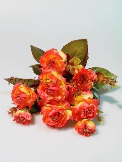 Розочки садовые искусственые оранжево-желтые гол. 4 см