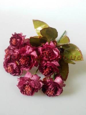 Розочки садовые искусственные Винтаж бургунди гол. 4 см