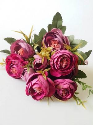 Ранункулюсы Винтаж с добавками пепельно-фиолетовые и малиново-фиолетовые 30 см