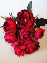 Букет миниатюрных пионов Бордово-красный винтажный гол. 6 см