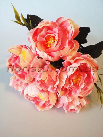 Букет миниатюрных пионов Нежный розовый гол. 6 см