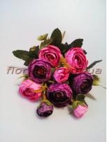 Ранункулюсы с добавками Винтаж пепельно-фиолетовые и розовые 6 гол. 4 см