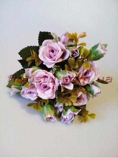 Букет искусственных роз с бутончиками светло-сиреневый гол. 4 см