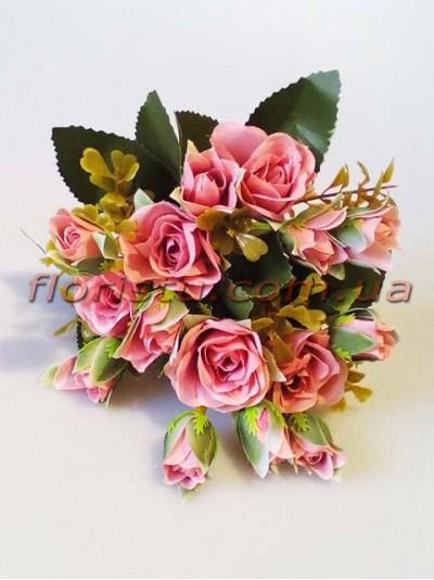 Букет искусственных роз с бутончиками розовая пудра гол. 4 см