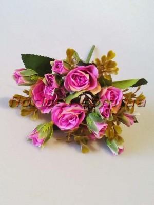 Букет искусственных роз с бутончиками сиренево-малиновый гол. 4 см