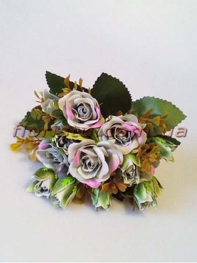 Букет искусственных роз с бутончиками мятно-серый гол. 4 см