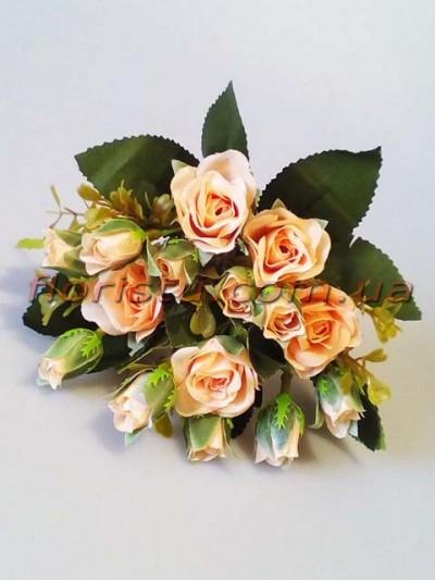 Букет искусственных роз с бутончиками нежно-персиковый гол. 4 см