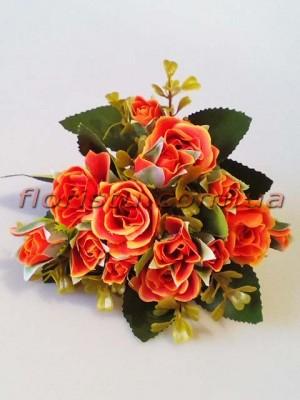 Букет искусственных роз с бутончиками терракотовый гол. 4 см