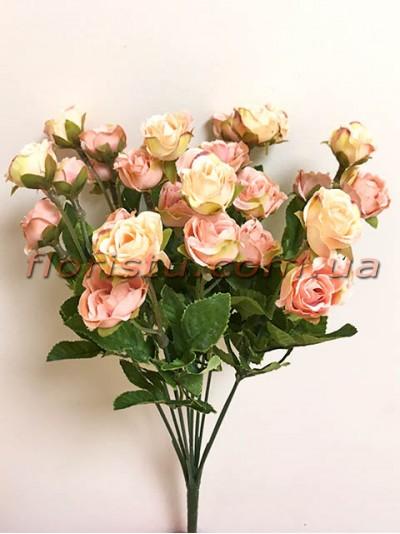 Букет кустовых роз Винтаж Персиковых 35 см гол. 3 см