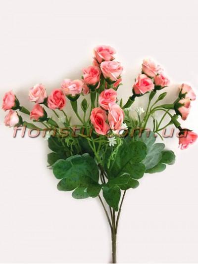 Букет мелких искусственных розочек кораллово-розовых 34 см