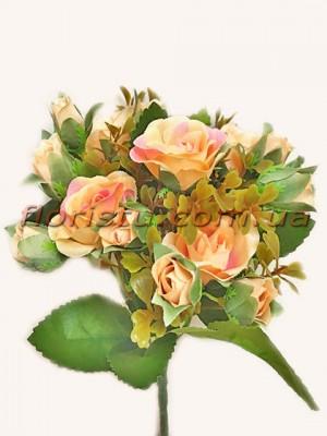 Букет искусственных роз с бутончиками персиково-розовый гол. 4 см