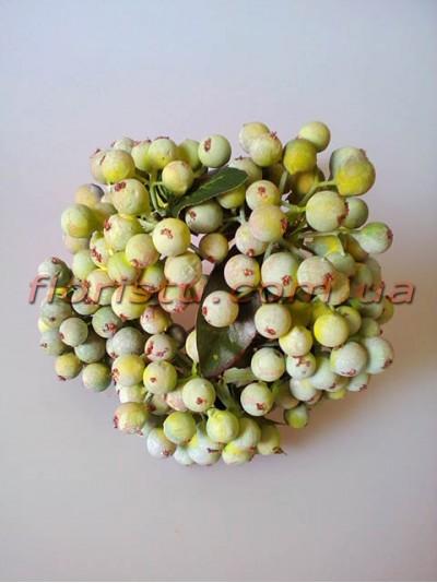 Букет из ягод искусственных винтажных пепельно-зеленых 5 веток 28 см