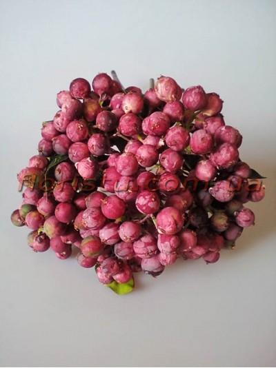 Букет из ягод искусственных винтажных пепельно-бордовых 5 веток 28 см