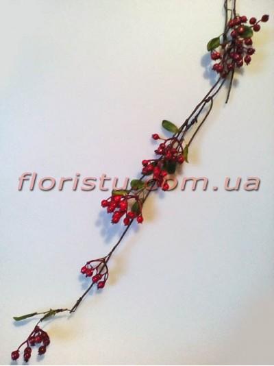 Ветка с красными ягодами премиум класса 70 см
