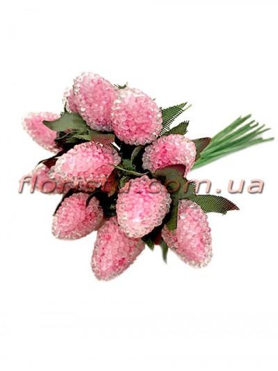 Ягоды малины искусственные Розовые пучок 12 шт.
