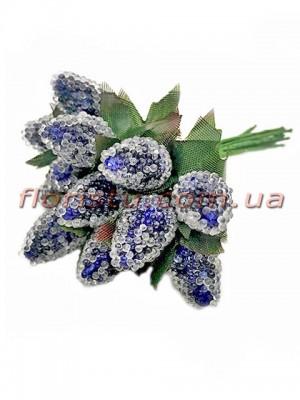 Ягоды малины искусственные Синие пучок 12 шт.